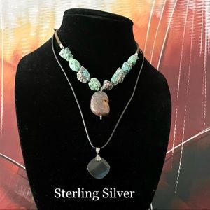 TURQUOISE LEATHER PENDANT NECKLACE BUNDLE STERLING